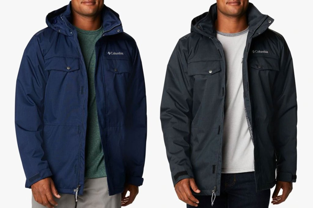 two men modeling columbia jackets in navy blue and black colors