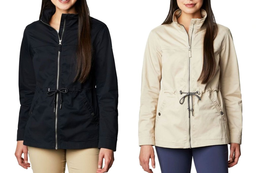two women modeling columbia jackets with cinch waists in black and cream colors