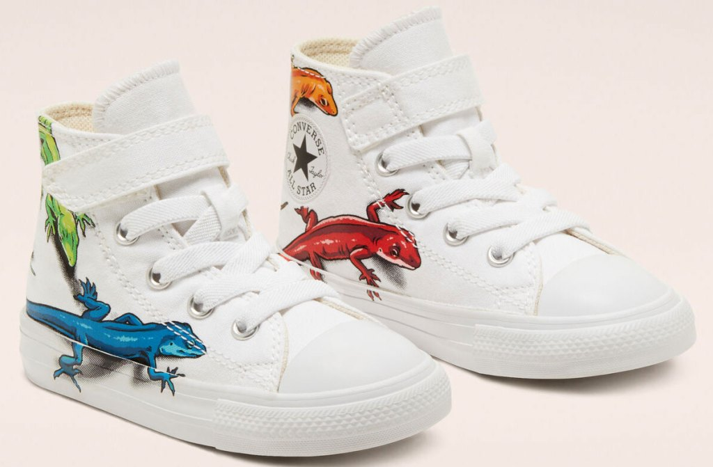 kids white high top converse with velcro strap at ankle and lizards print