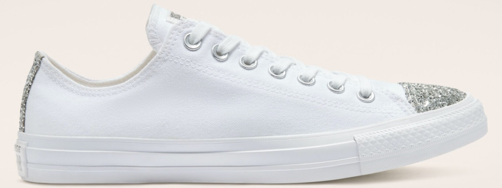 white shoes with silver glitter toe cap