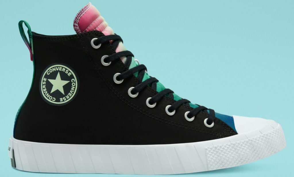 black and multi-colored high top shoe
