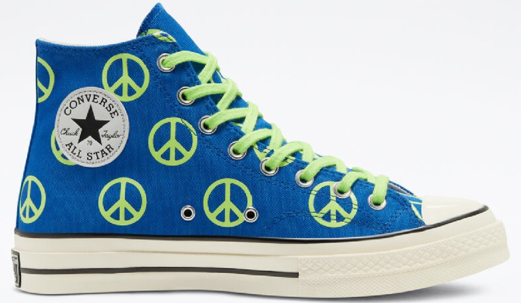 blue and green peace sign high top shoe