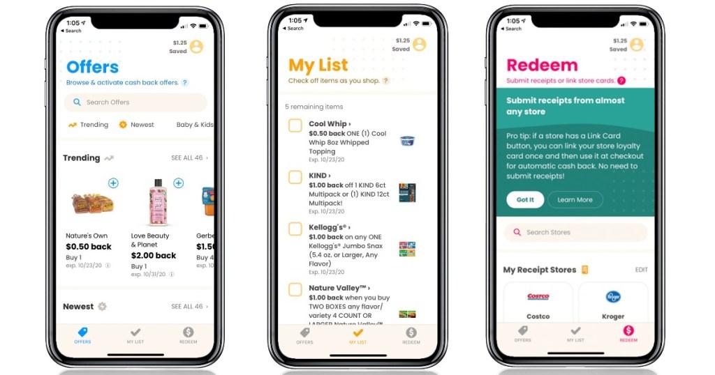 phone screenshots of Coupons.com app