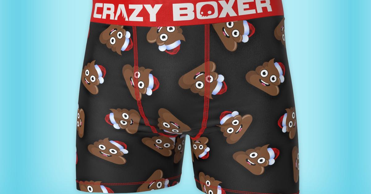 men's poop emoji santa hat boxers and blue background