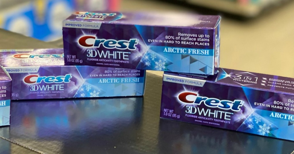 Crest 3D White on store counter