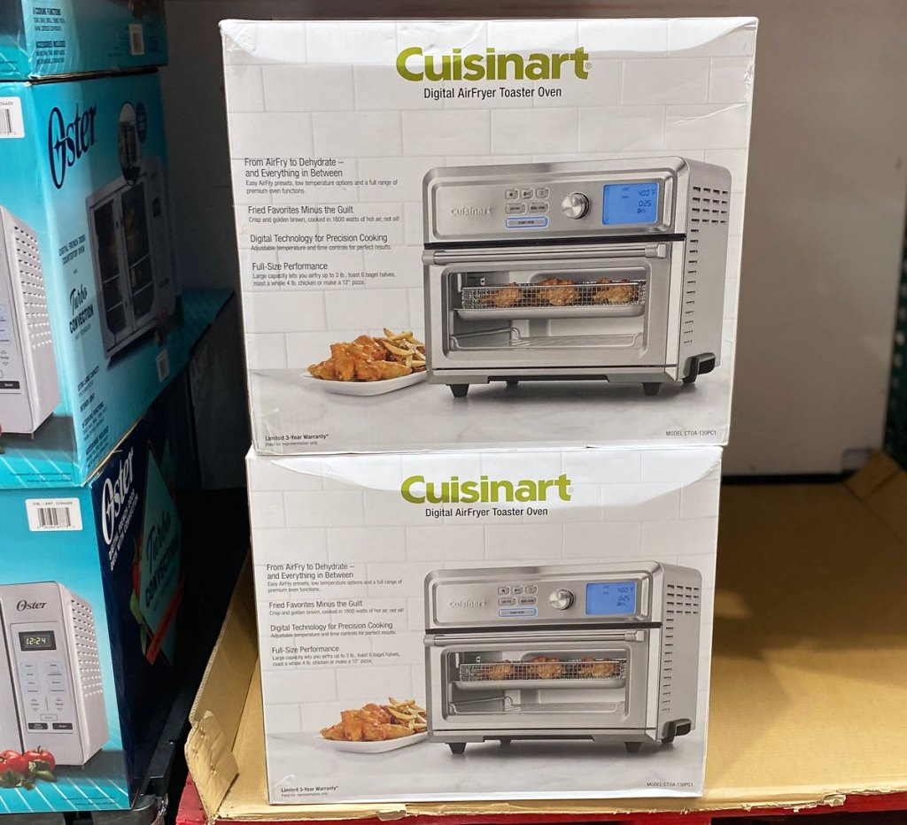 twocuisinart digital air fryer toaster oven boxes stacked on display at costco