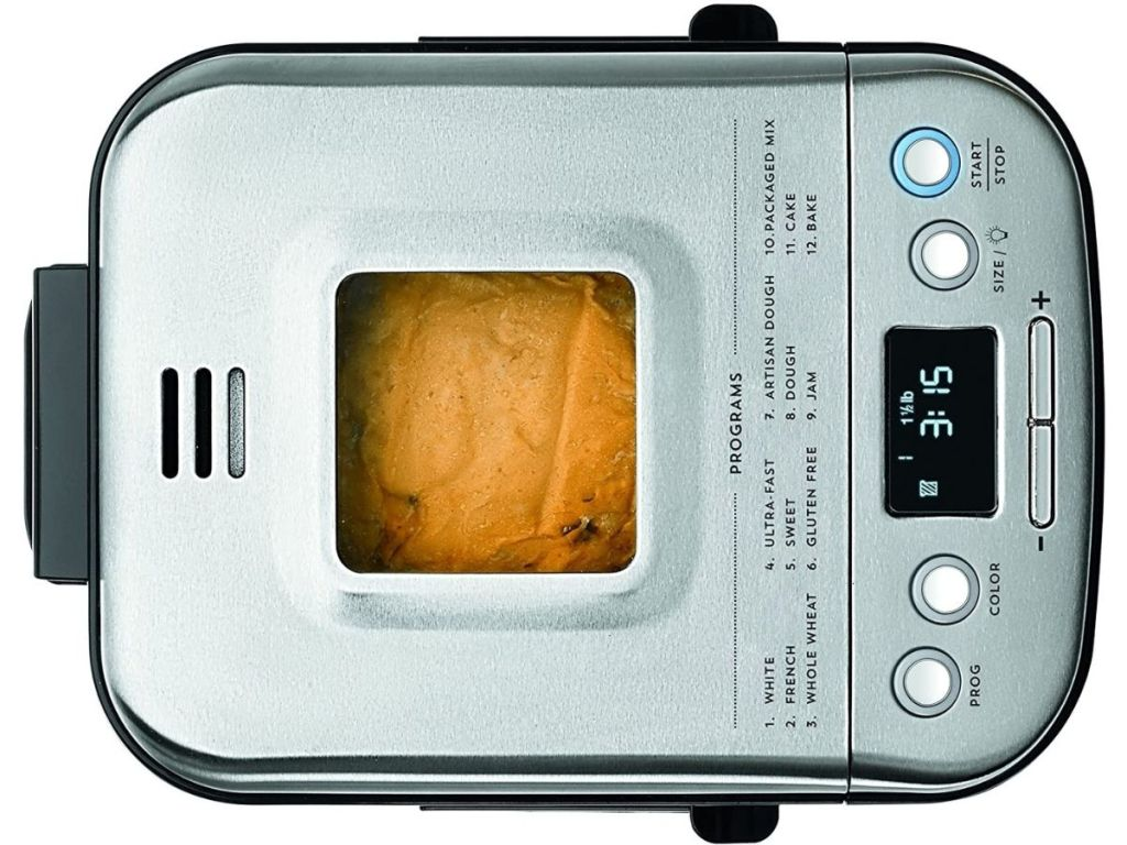 top view of bread maker with window showing bread