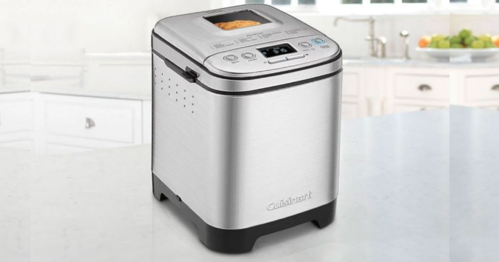 Cuisinart bread maker on marble counter in kitchen