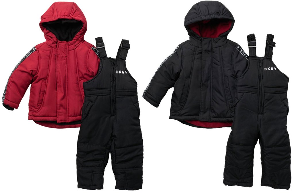baby boys snowsuit sets in red and black colors