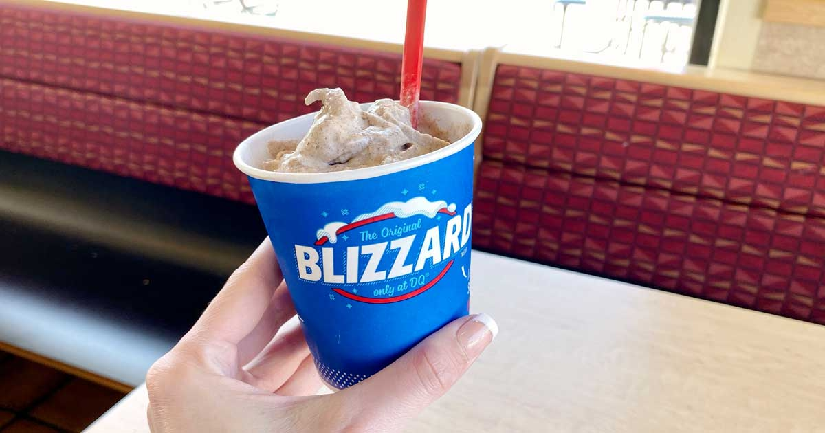 hand holding a dairy queen blizzard in store