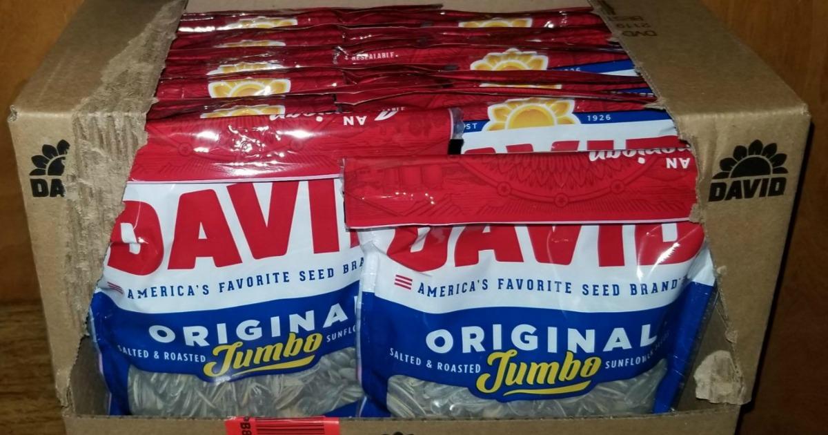 Large box of David brand sunflower seeds