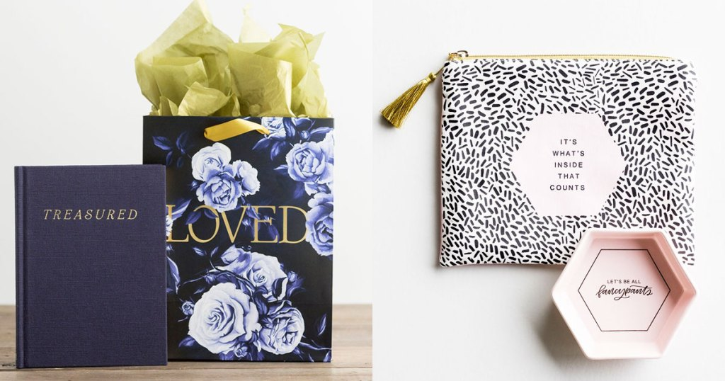 blue journal with blue floral print gift bag and cosmetics pouch with pink trinket dish