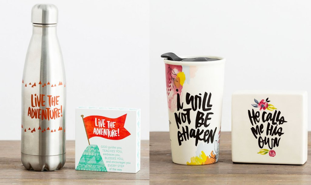 water bottle and ceramic travel mug sets with inspirational matching plaques
