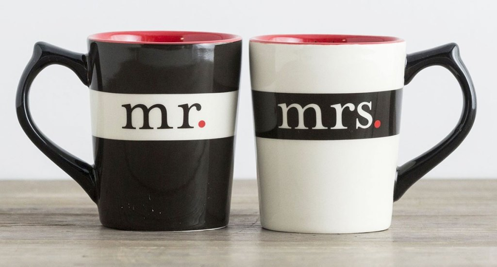 black and white coffee mug set that say mr & mrs on each much