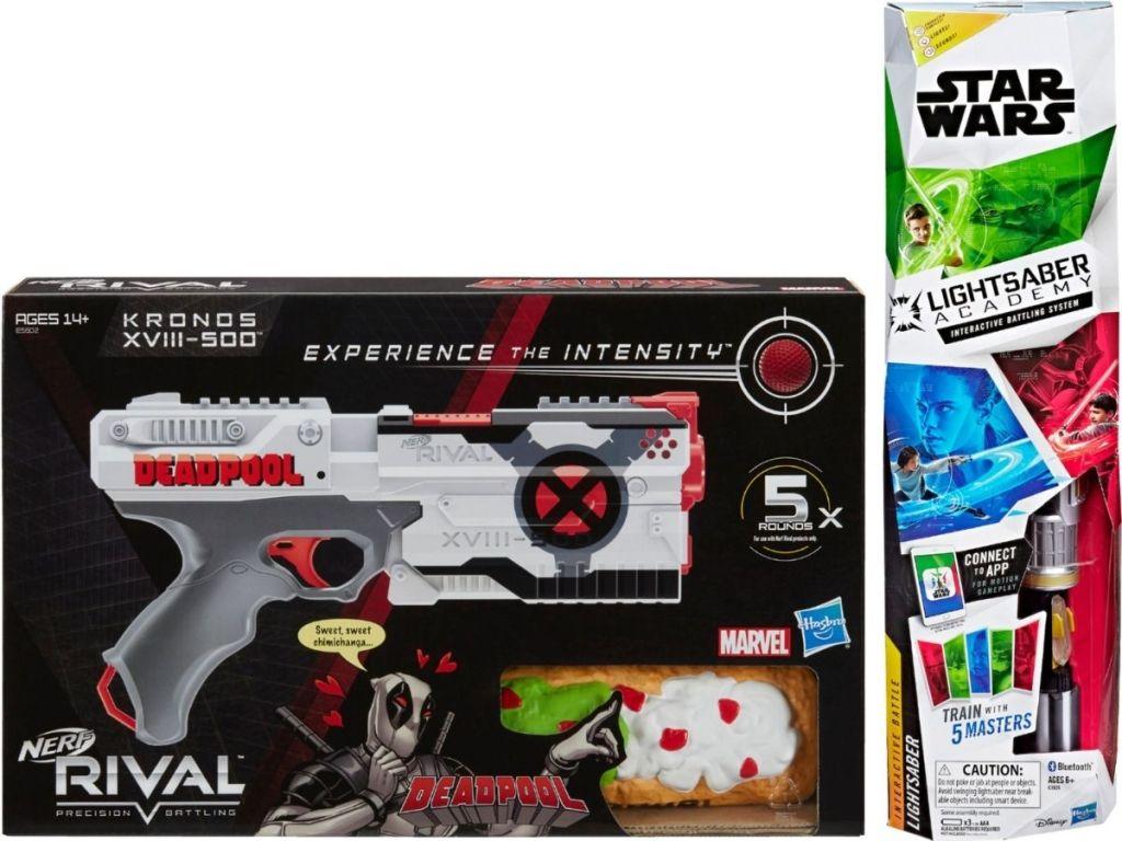 Deadpool Nerf Gun and Star Wars Light Sabre