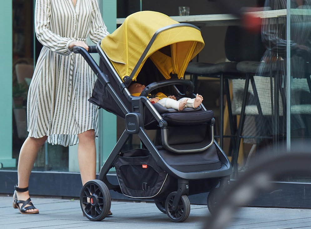 woman pushing a stroller