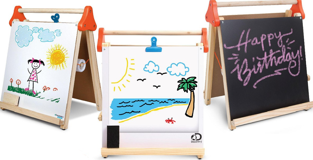 three views of a kids easel
