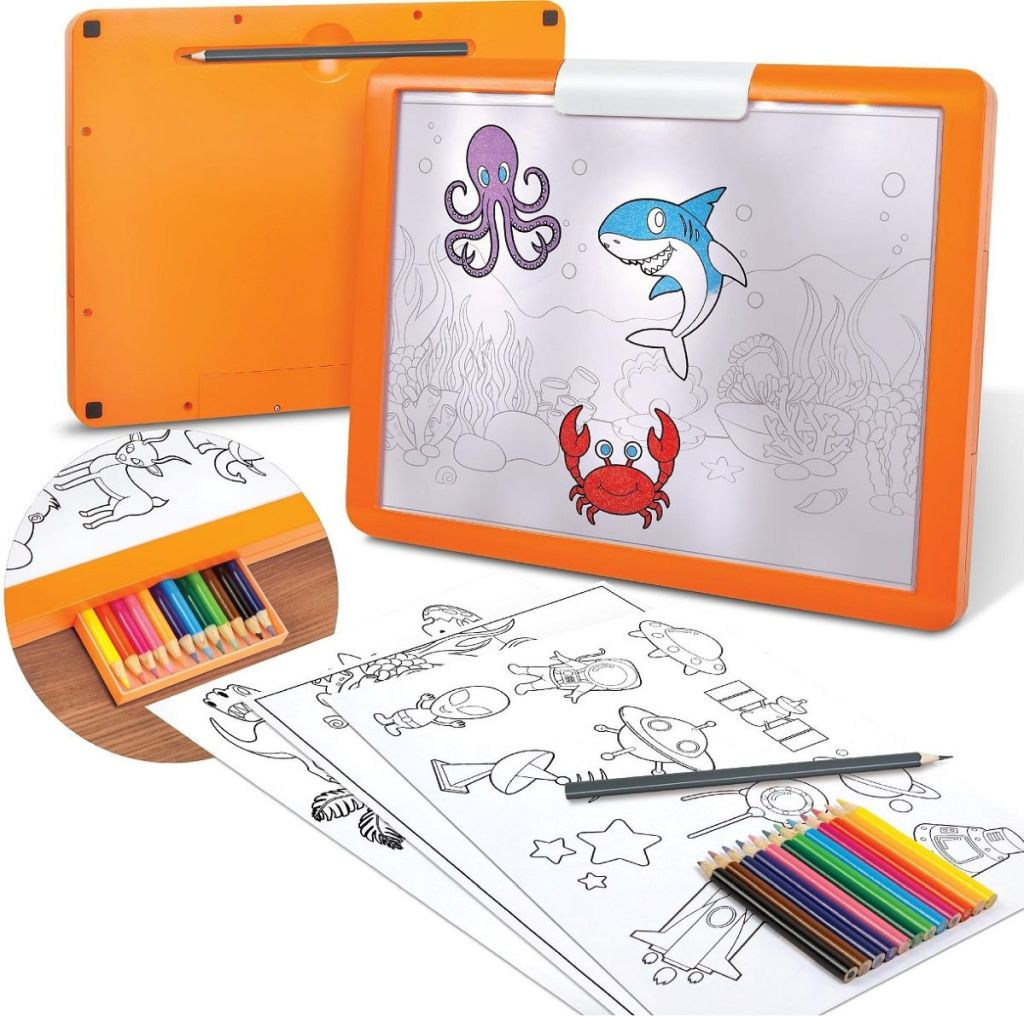 kids tracing tablet with coloring sheets and colored pencils