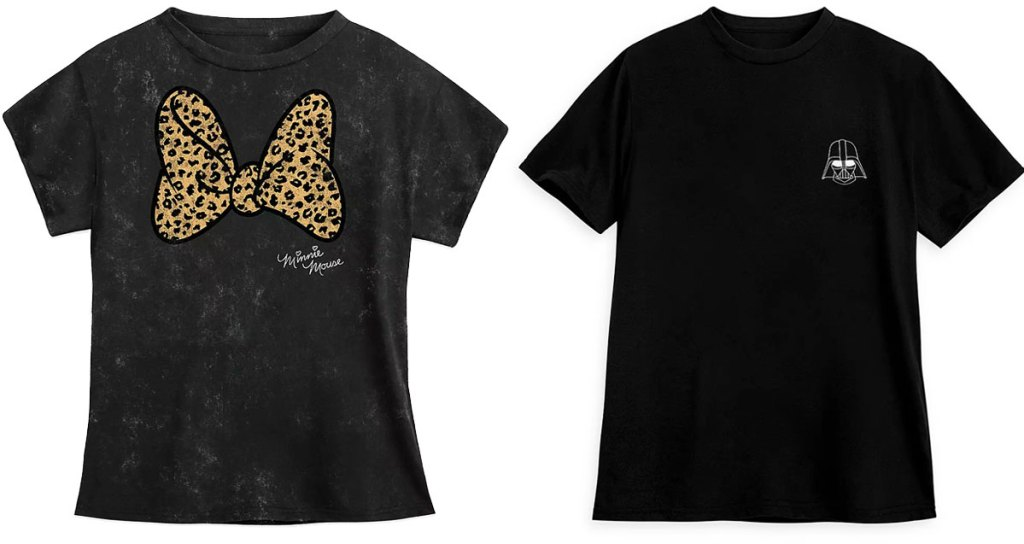 grey t-shirt with leopard print minnie mouse bow and black t-shirt with small darth vader head
