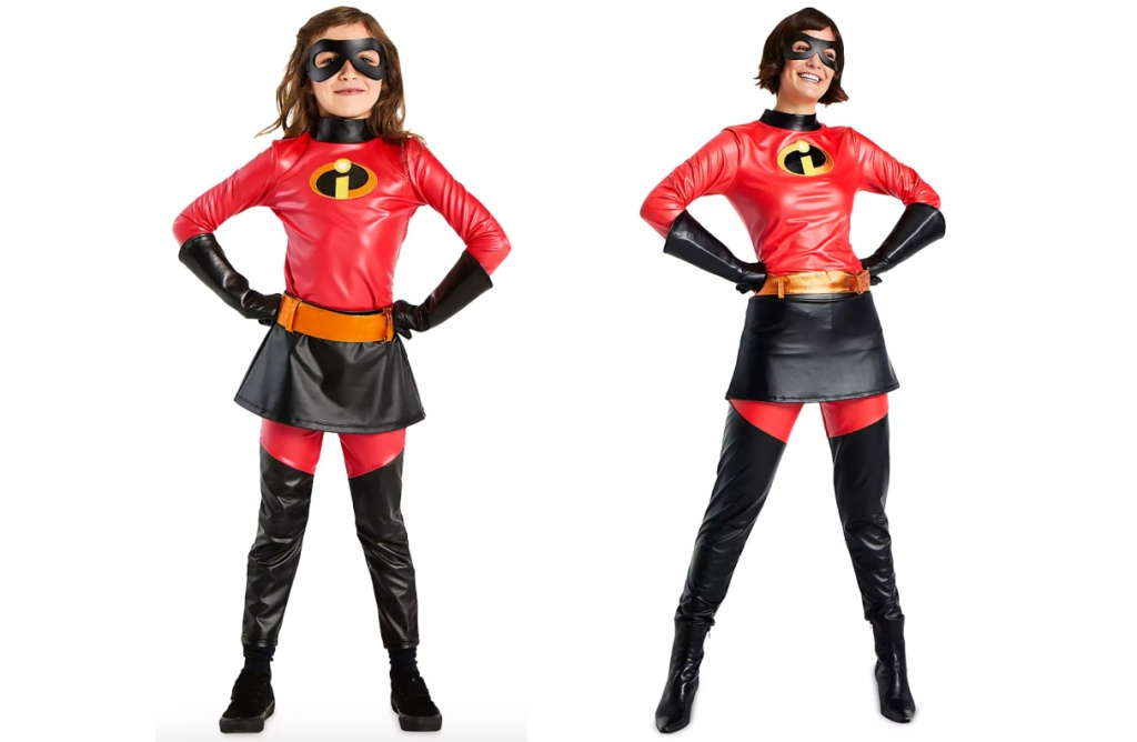 little girl wearing Incredibles costume and woman in incredibles costume