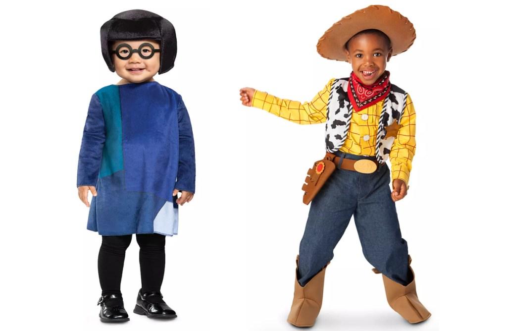 2 kids wearing disney branded halloween costumes