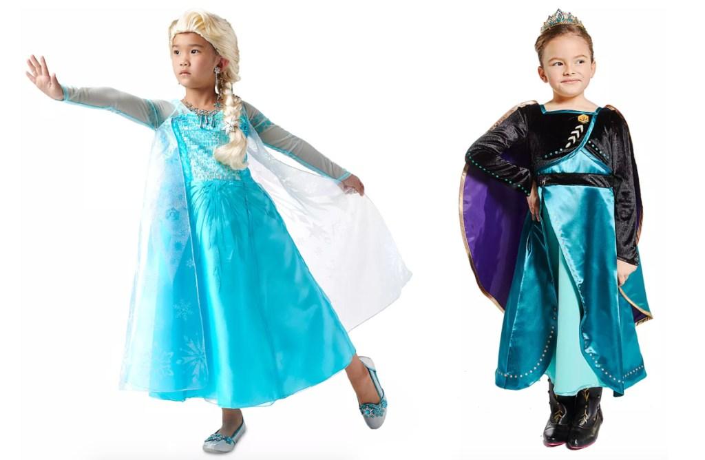 two little girls wearing frozen 2 halloween costume dresses
