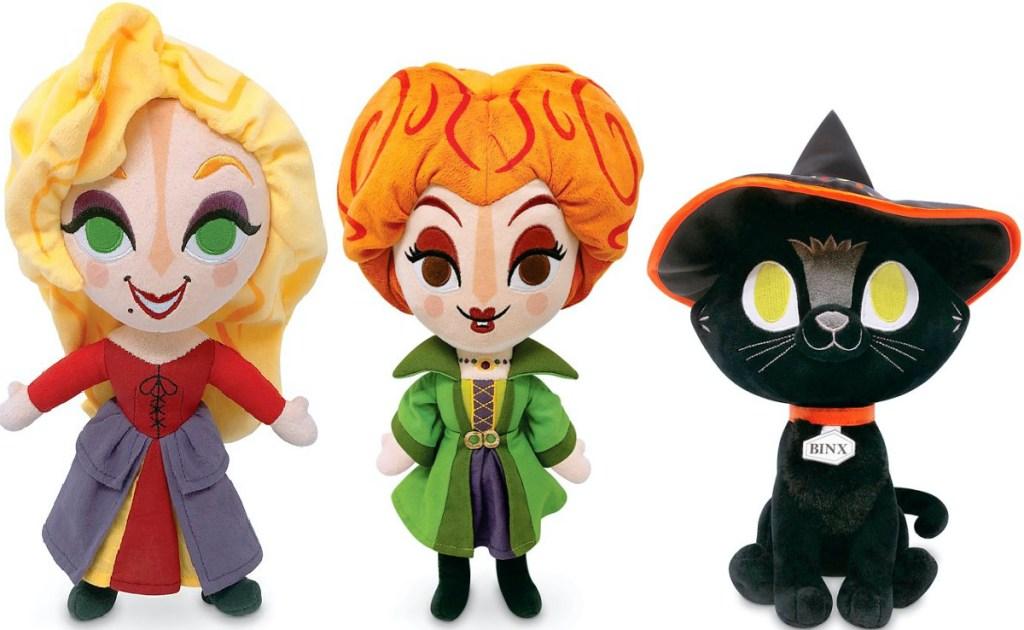 three Disney Hocus Pocus plush toys