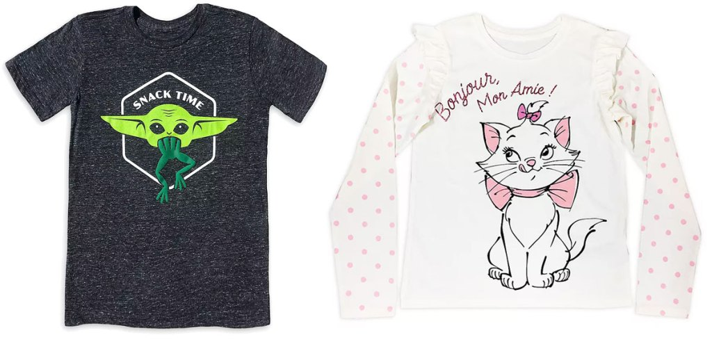 grey mandalorian child with frog tee and white aristocats long sleeve tee