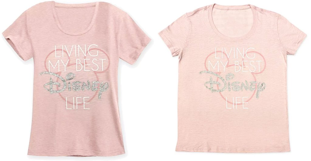 two matching light pink tees that say living my best disney life with silver glitter on the word disney