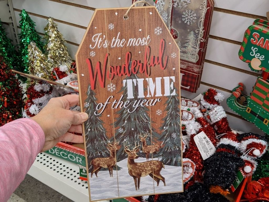 Dollar Tree holiday sign with deer