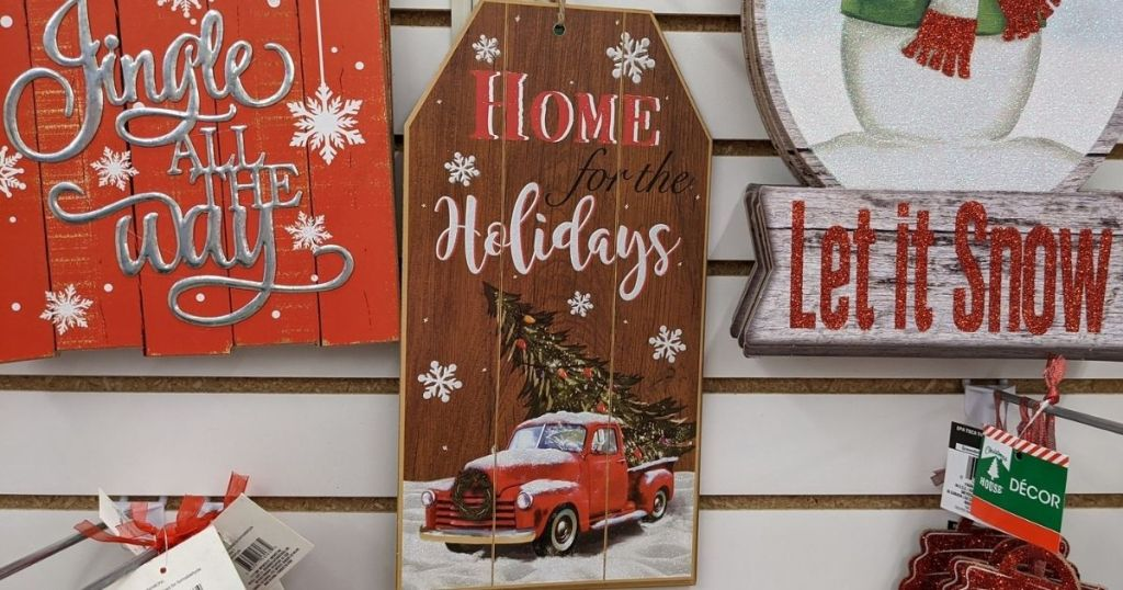 Dollar Tree Holiday Sign with Vintage Truck on it