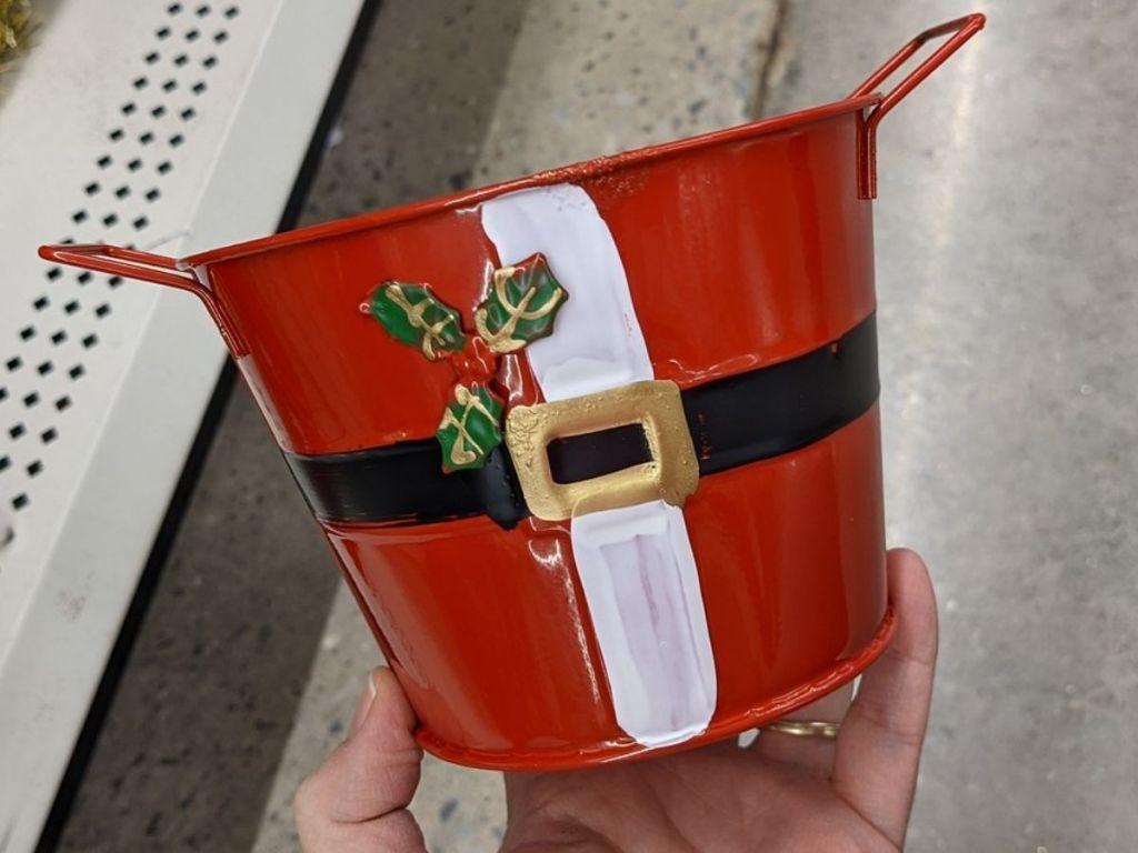 Dollar Tree Metal Santa Bucket