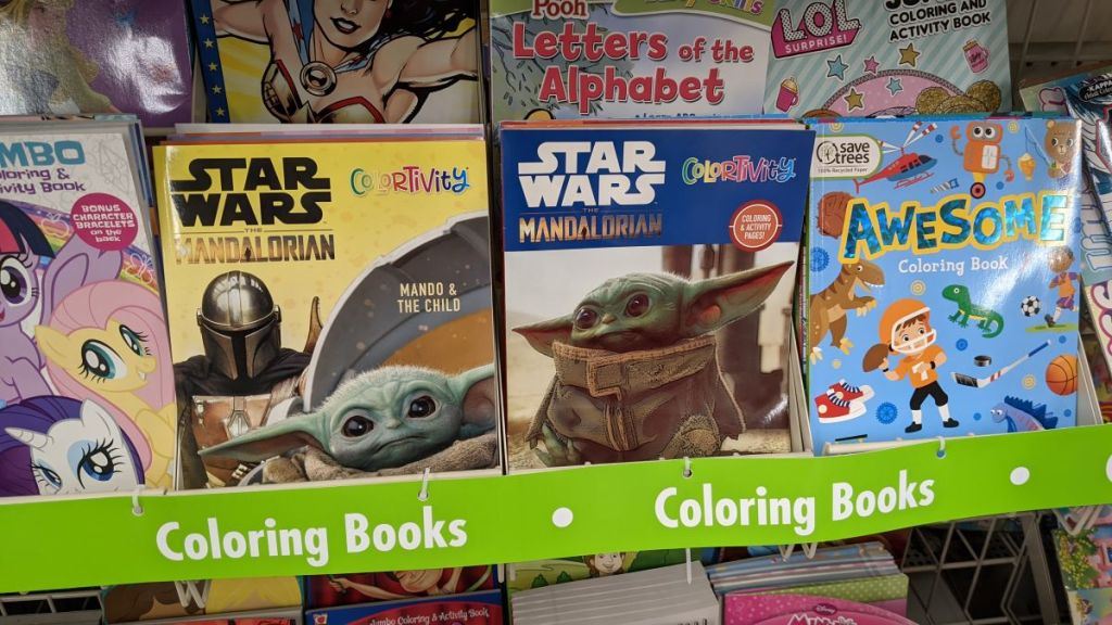 display of coloring books at Dollar Tree