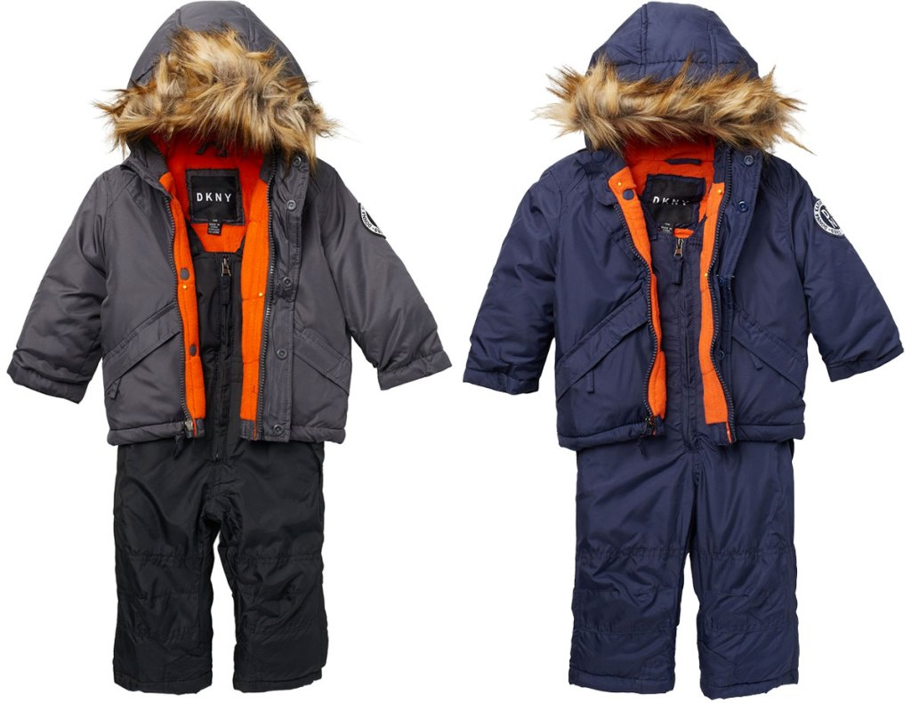 baby boys snowsuit sets in grey and blue with fur lined jacket hoods