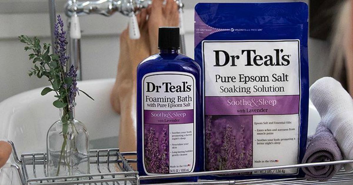 Dr. Teal's Foaming Bath on bath tray with woman in bath