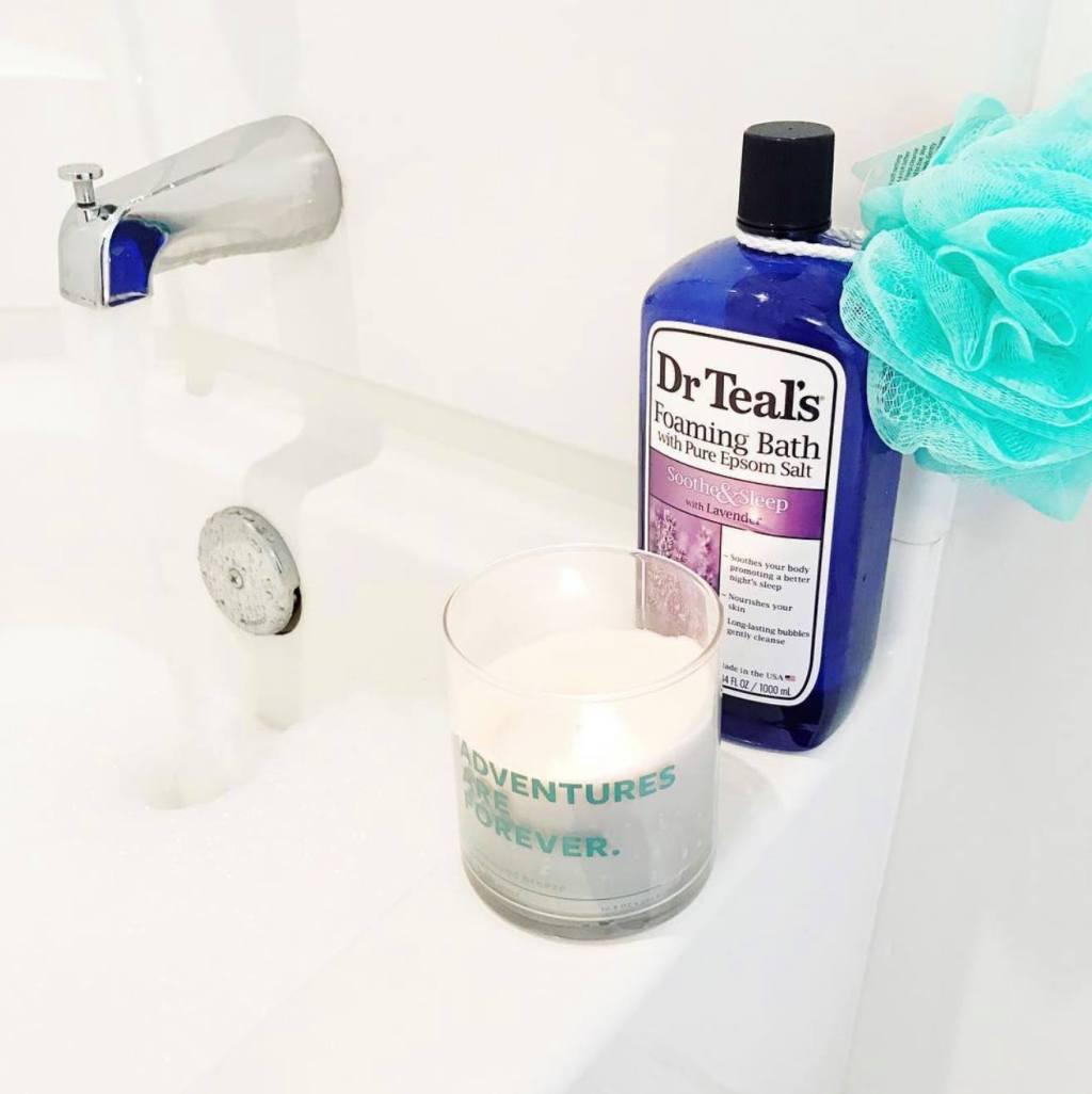 Dr. Teal's Soothe and Sleep on bathtub