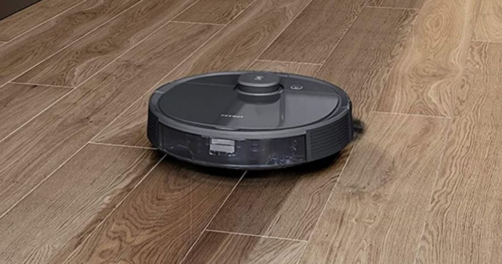 robot vacuuming wood floor