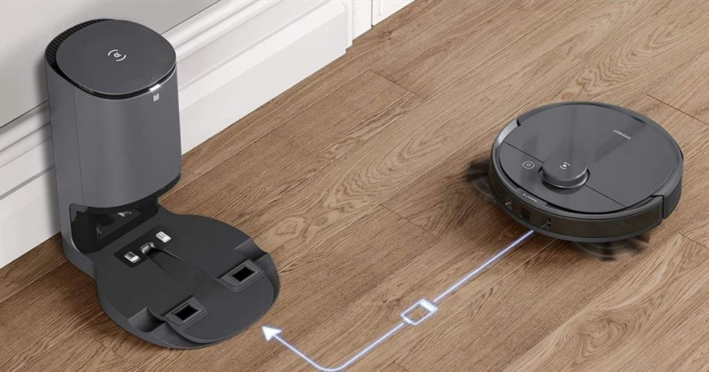 Deebot robot vac with arrow showing route to charging station