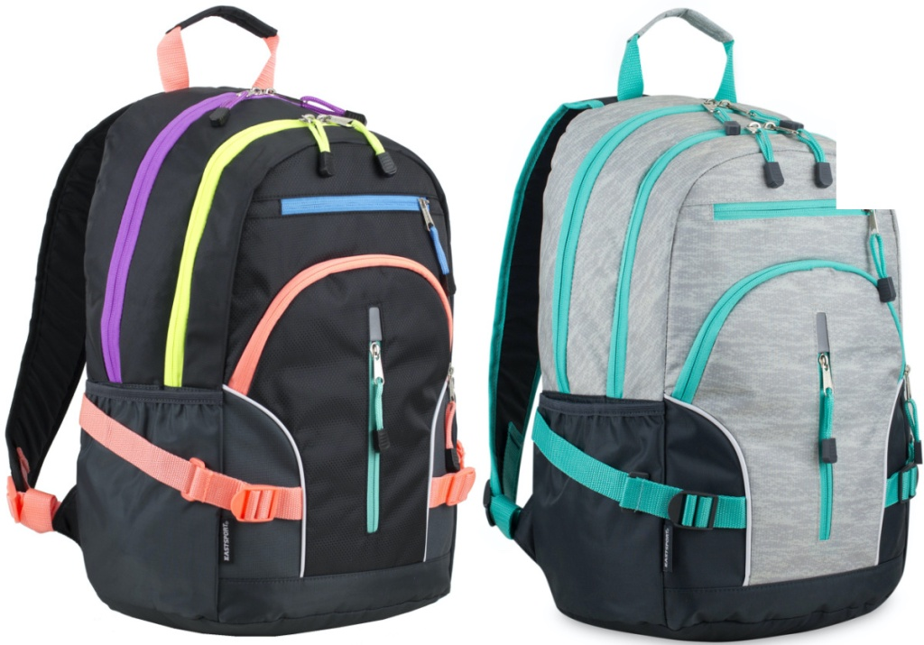 black backpack with neon trim and gray backpack with blue trim