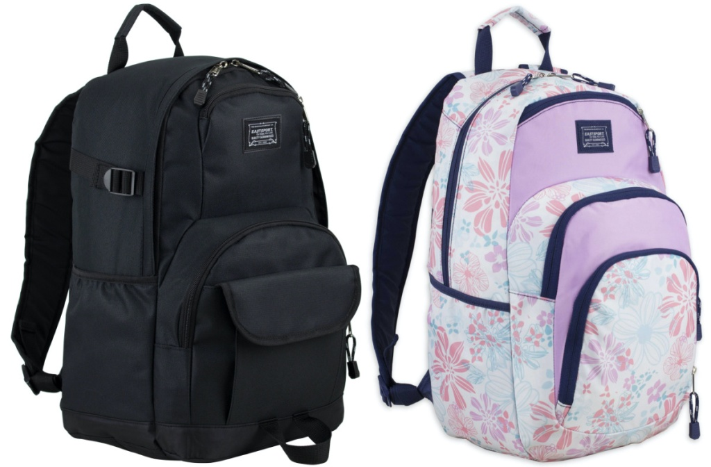 black backpack and purple floral backpack