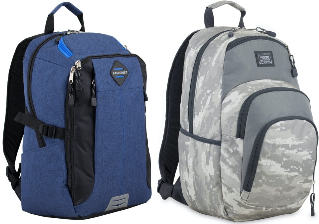 black backpack and gray camo backpack