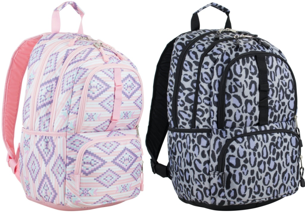 pink and purple aztec print backpack and black and white leopard print backpack