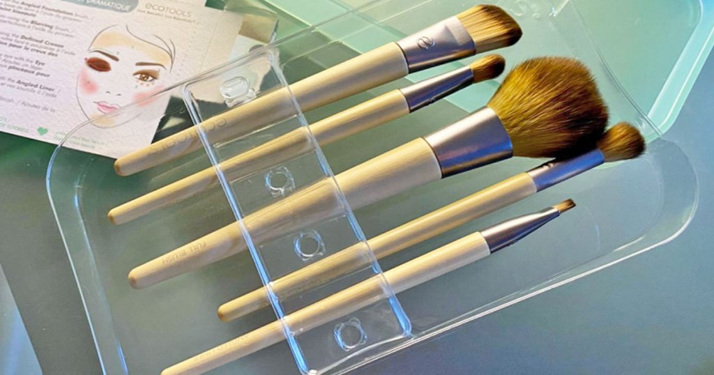 set of 5 ecotools makeup brushes in a storage case