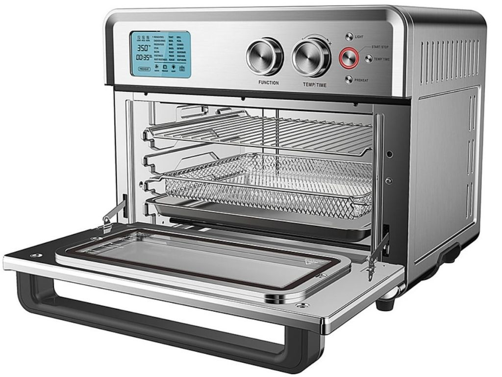 Large stainless steel air fryer oven with open door