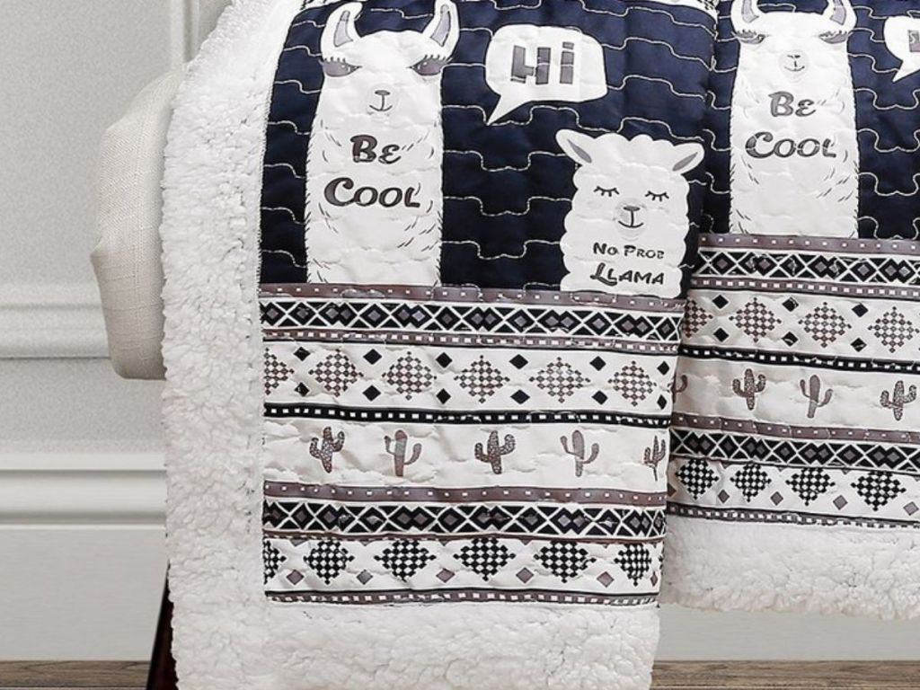Sherpa Lined Quilt with Llama Print