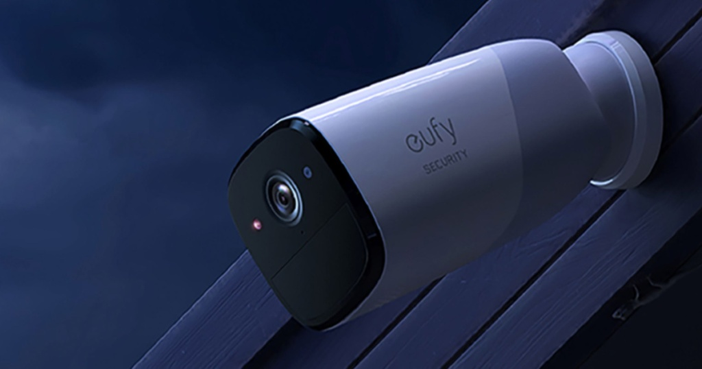 EufyCam Pro Security Camera attached to a roof outside in the dark