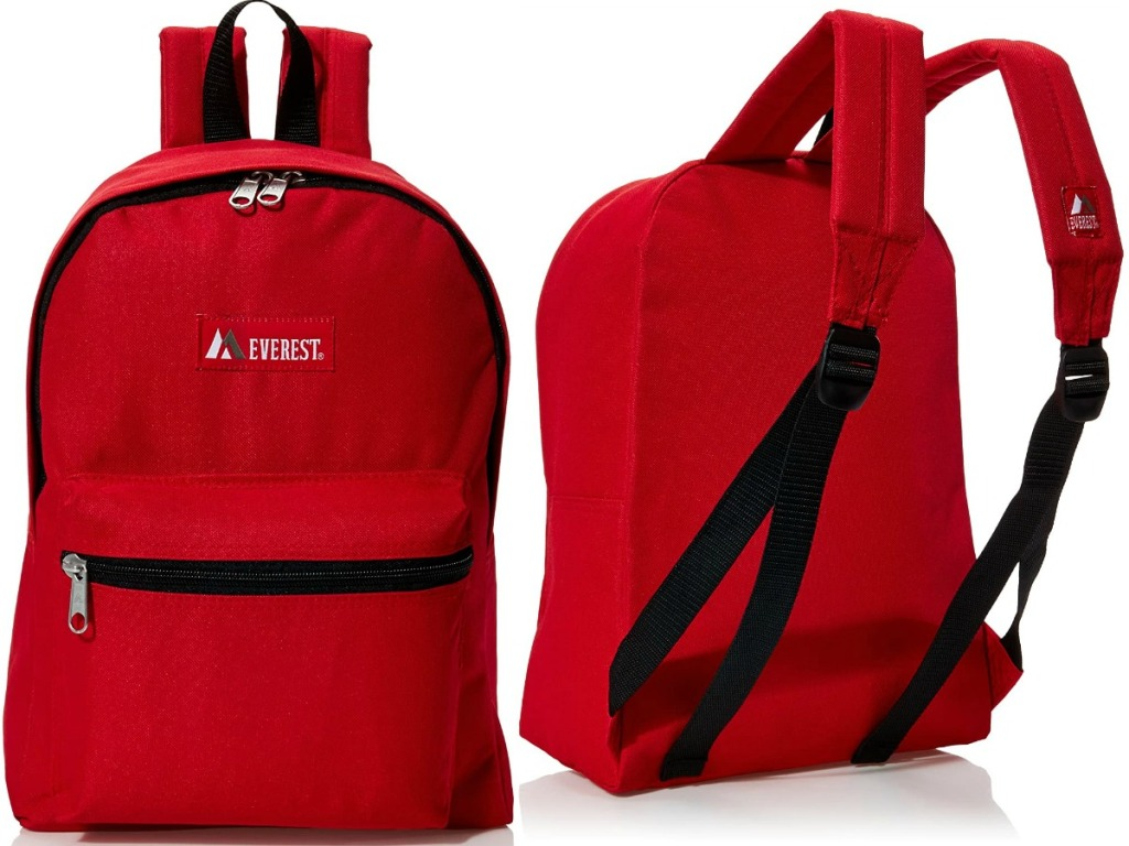 Front and back view of a red backpack