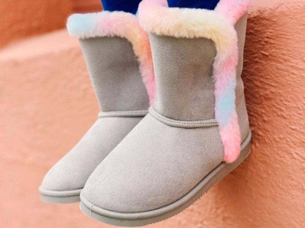 gray boots with colorful fur lining