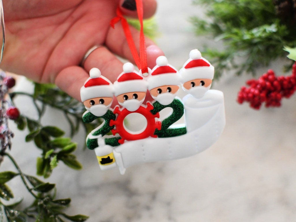 Family of Four Covid 19 Christmas Ornament 2020