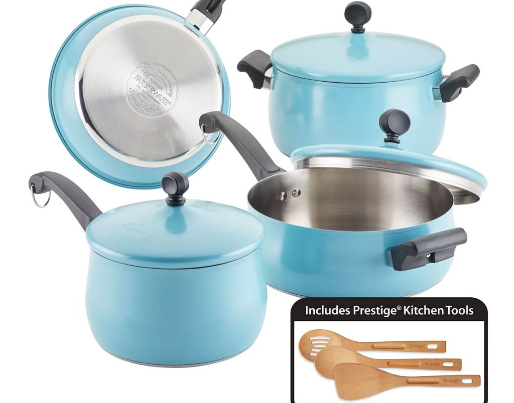 bright blue faberware cookware set with pots, matching lids, and wooden cooking utensil set